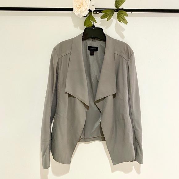 Danier Draped Open Front Leather Jacket